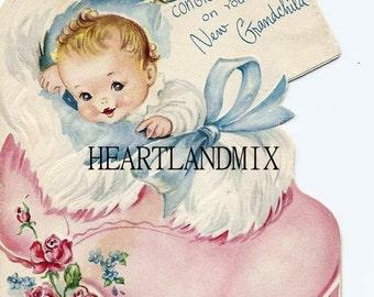 Baby Gift Card Download Printable Art Digital Image for new grandchild