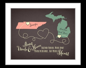 Long distance present, birthday gift for niece, aunts and uncles and niece quote, moving away gift, custom map print, anniversary present