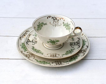 Traditional Vintage German Teacup and Saucer Trio Set - Green Flowers with Gold Ornate Border