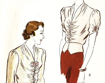 Vogue 7799 Misses' Vintage 1930s Peplum Evening Blouse with Shirred Front and Sleeves Sewing Pattern
