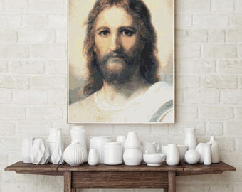Counted Cross Stitch PATTERN  Jesus by Heinrich Hofmann, Cross Stitch Chart