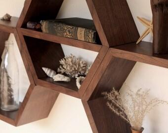 honeycomb wall shelf minimalist shelves modern floating shelves hexagon shelf geometric wood