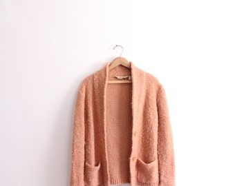 Fuzzy Salmon 70s Cardigan Sweater