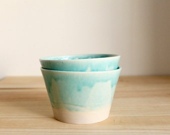 Two bowl set Ceramic bowl set Aquamarine stoneware bowls