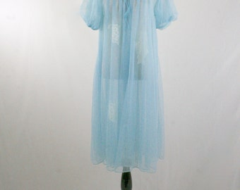 1960s Lisette by Al Sterling Sheer Blue Nylon Robe Puff Sleeves Lace