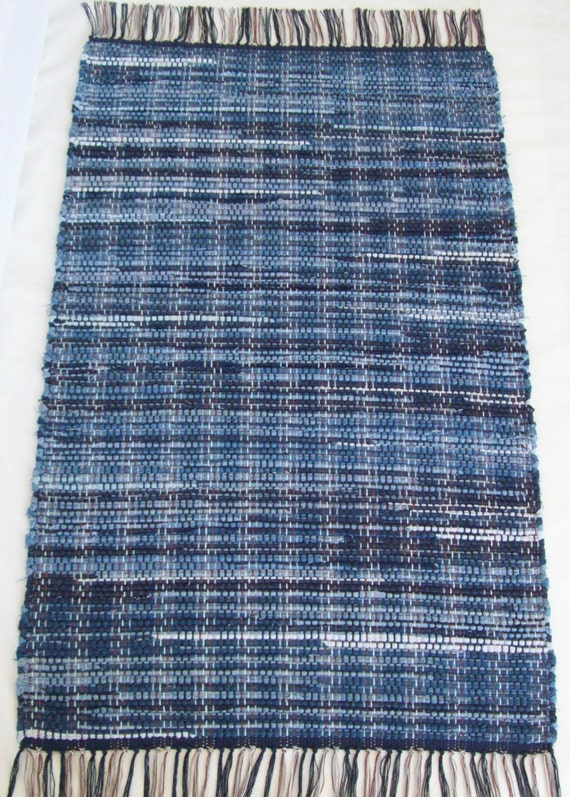 Denim Rag Rug Recycled Blue Jeans 24 By 47