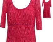 Summer Dress in Bright Coral Color with Stretchy Lace Overlay and Under Lining  - Fits Size Medium (US Sz 10)