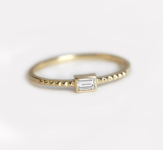 Diamond Engagement Band Delicate Engagement Ring Emerald Cut