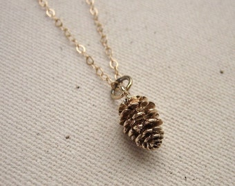 Pine Cone Necklace - Bronze on Gold Filled Chain - Woodland Necklace, Nature Jewelry, Bohemian Necklace
