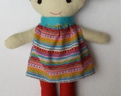 Felt Doll with Brown Pigtails in Pink Cotton Dress