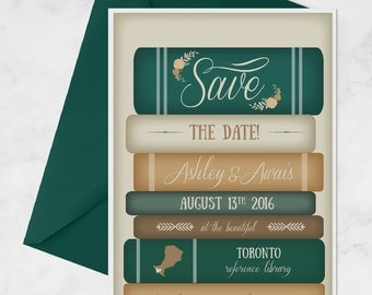 Books Save the Date for Library Wedding - Vintage Books Invitation - Book Theme Wedding - Library Theme Wedding