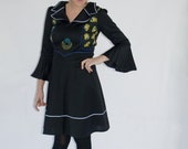 RESERVED ! Unique seventies dress with Pierot embroidery and wide bell sleeves. EU 38