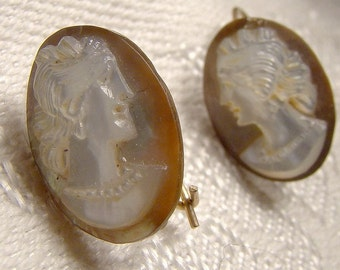 Hand Carved Mother of Pearl Cameo Earrings 1950s