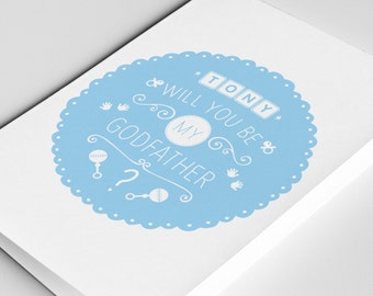 Personalised Godfather Card - Will you be my Godfather? With Special Message Inside, Baptism, Christening, Godparents card,
