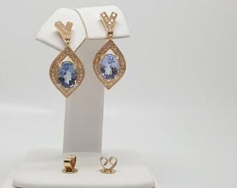 3.22ctw Tanzanite & Diamond Halo Drop Dangle 14kt Yellow Gold Earrings