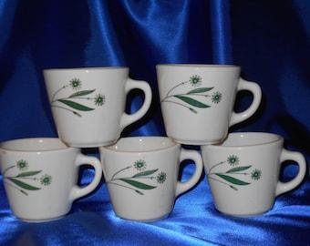 5 Homer Laughlin Green Field cups