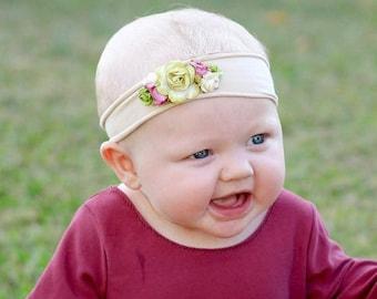 Infant Headband, baby head wraps, Baby Headband, Flower Headband, Green Headband, Headband Flower, Jersey Headband, Newborn Headband