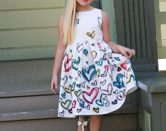Girls Graduated Heart Print Dress Dress - Doodle Print - Birthday- Valentines - Girls Clothes - Girls Dress - Girls Trending Colorful