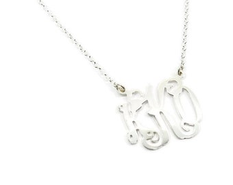 "0.8"" Monogram Necklace. Personalized Initial necklace. Sterling silver monogram necklace. Monogram jewelry. Initial jewelry. Gift for her."