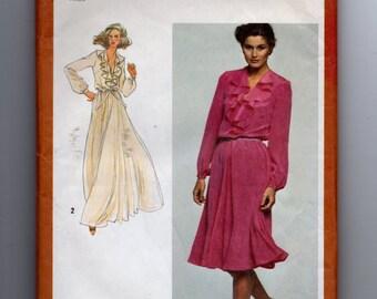 9655 Simplicity Sewing Pattern Cascade Ruffle Neckline Dress Evening Size 16 38B Vintage 1980