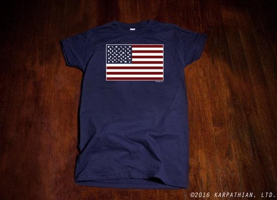 U.S.A. State Flag tee shirt 4th of July shirt American Flag shirt ladies jr fit tee