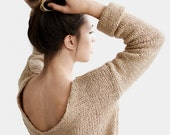Deep V-Neck Sweater, Oversized Pullover, Hand Knit Sweater, Beige Knit Sweater, Chunky Deep V Pullover, Slouchy Knit Top