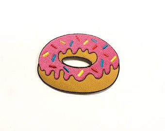Donut Iron-on Patch / Pink Frosting Donut Embroidery / Food Appliqué / Transfer / Sticker / Homer The Simsons