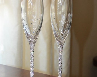 Custom Swarovski crystal embellished STEM toasting flutes.  Lenox Toasting glasses. Champagne flutes for weddings- anniversaries- party