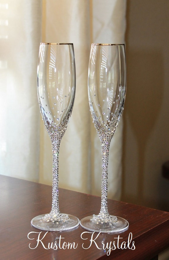 Custom swarovski crystal embellished stem toasting flutes - Swarovski stemware ...