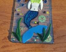 Peaceful Mermaid In The Sea- Fused Glass Panel