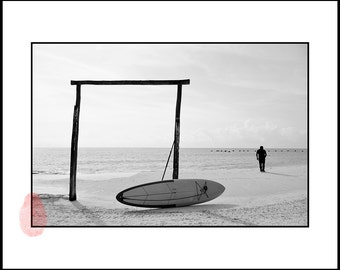 Printable Black and White Photography, Surf Home Decor, Surf Photography, Sea Print Download, Digital Print, Fine Art Wall Art, Mexico Photo