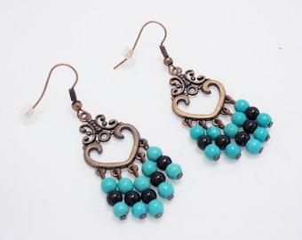 Valentine Day gifts fashion earrings love jewelry turquoise earrings heart earrings tribal earrings new fashion accessories dangle earrings