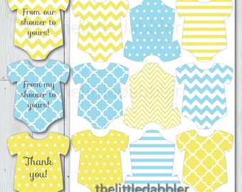 Blue Yellow Mini Baby Shower Onesie Tags -- Rubber Ducky Sunshine Rain Shower Thank You Favor Gift Tag Place Setting -- - Printable PDF