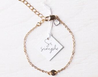 Gold-plated charm bracelet handmade in Montreal