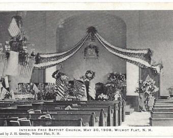 Vintage Postcard - Interior Free Baptist Church - May 30, 1908 - Wilmot Flat - New Hampshire