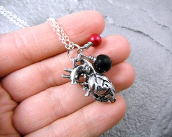 Anatomical Heart Necklace, Silver Heart Necklace, Heart Charm Necklace, Silver Charm Necklace, Organ Pendant Necklace, Grunge Necklace