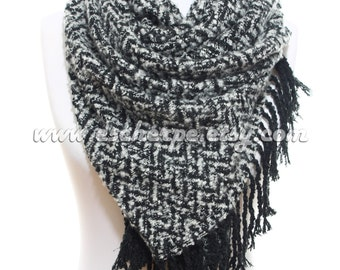 WINTER SALE Fringe Scarf Zig Zag Cozy Warm Man Scarf Winter Accessory Men Fashion Accessories Scarves Valentine Gifts Ideas For Him For Her