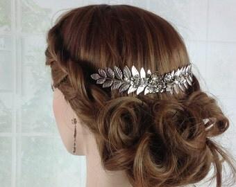 Bridal hairpiece - Silver wedding hair accessories, Decorative bridal veil comb,