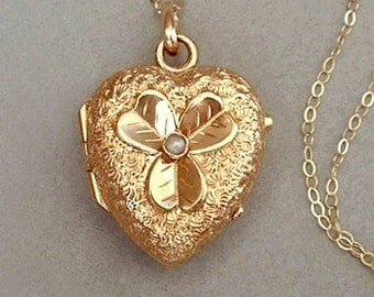 14K GOLD Antique Victorian Heart LOCKET Seed Pearl, Shamrock, Crystal Covers, 14K Chain c.1870s, Valentine Gift For YOU