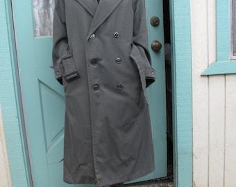 Genuine vintage olive green women's long army coat