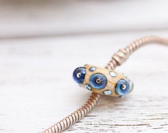 Big Hole Bead, Ivory Lampwork Bead, Blue Galaxies, Large Hole Bead, European Charm Bead, Handmade Lampwork
