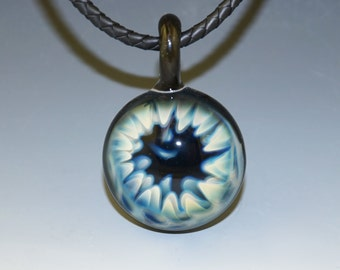 Blown Glass Pendant with Fumed Worm Hole, Cosmic Space Galaxy - flamework, handmade (#527)