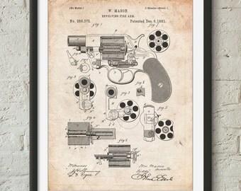 Colt M1889 Revolver Poster, Revolver Patent, Firearm, Gun Art, Gun Gifts, PP0005