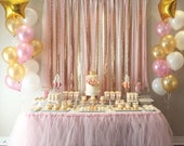 Pink & Gold Garland Backdrop - birthday, baby shower, wedding ... Fabric, Sequin and Lace