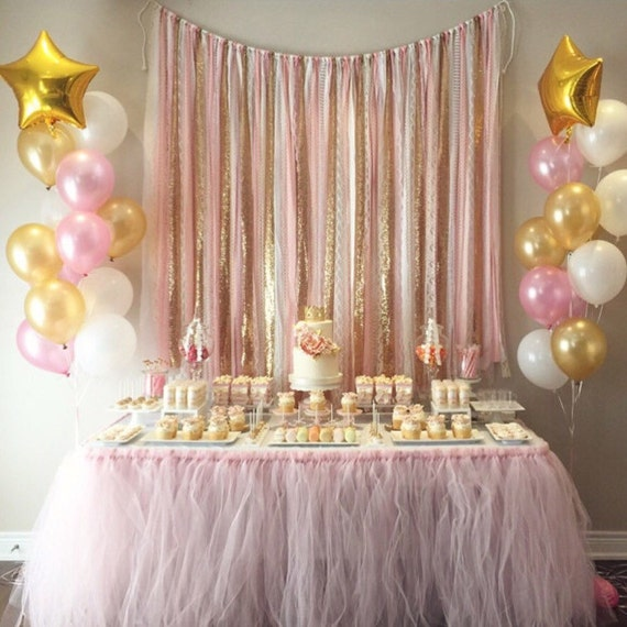 Pink gold garland backdrop birthday baby shower wedding for Dekorasi pool party