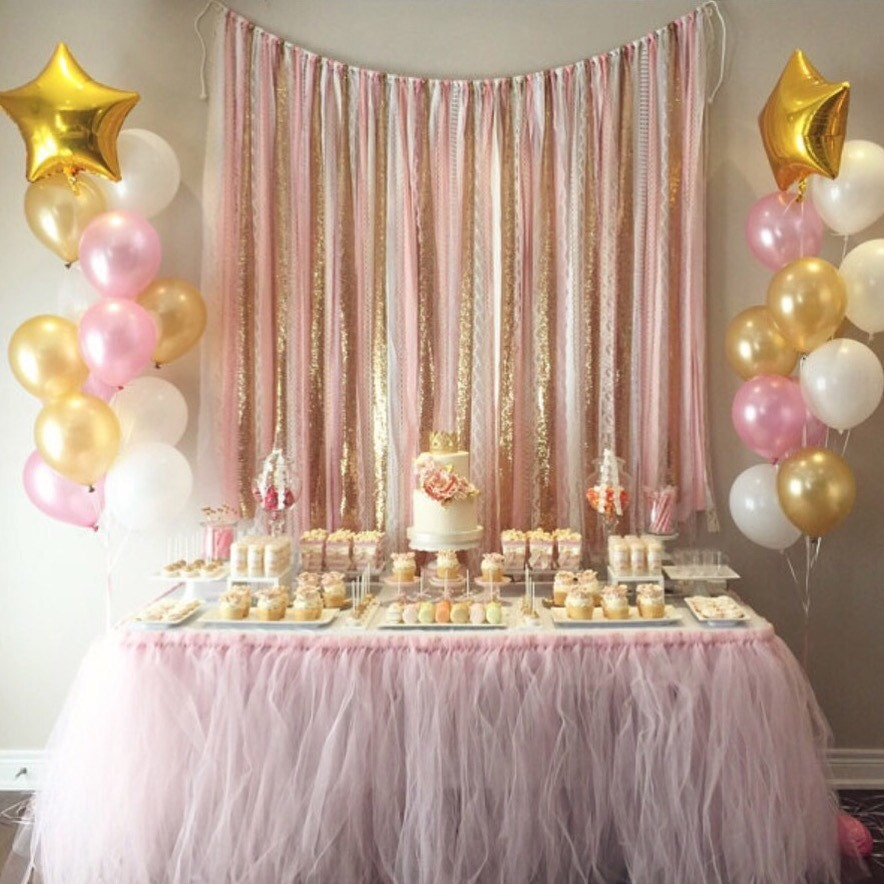 pink gold garland backdrop birthday baby shower wedding