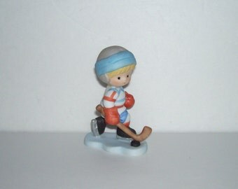 Enesco Country Cousins Scooter Hockey Player Figurine