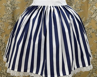White and Navy Striped Lolita Skirt