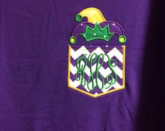 Personalized, Appliqued, Monogrammed, Mardi Gras Jester Hat Feaux Pocket Tshirt,