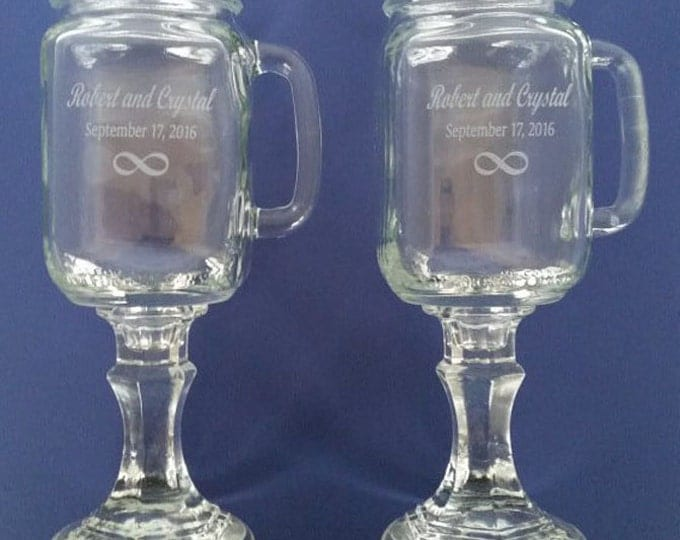 INFINITY  Redneck  Wine Glasses - WITH Handles -    2 Engraved  - 16 OZ - Personalized - Hillbilly - Wedding -Anniversary - Mason Jar